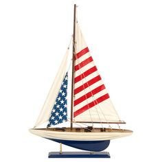 Sail away on patriotism with our Carter American Flag Sailboat. This charming replica sailboat is a perfect addition to tabletop or shelf top in a nautical themed decor. Dimension x x Weight lb Food Safe NO Outdoor Safe NO Materials BIRCHWOOD, Cotton