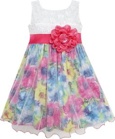 Girls Dress Rose Flower Detailing Tulle Overlay Red Size 7-14 Years