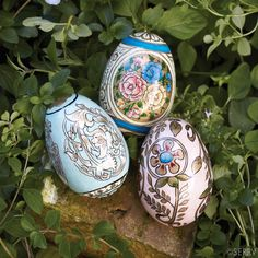 Victorian Hand-Painted Eggs  Artisans in Kashmir hand paint these papier-mâché eggs with remarkable detail in brilliant colors. Made from recycled newspapers. Set of 3 eggs. #FairTrade #easter www.serrv.org