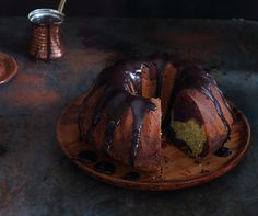Chocolate and Pistachio Nut Marble Cake recipe. A deliciously nutty marbled cake, topped with a silky cocoa-based ganache.