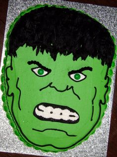 Birthday Cake for an Incredible Hulk themed birthday This was the