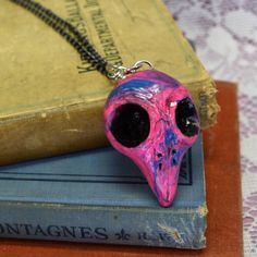 Neon Pink Blue Marbled Sculpted Clay Dead Bird by madrabbitcouture
