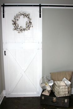 DIY barn door can be your best option when considering cheap materials for setting up a sliding barn door. DIY barn door requires a DIY barn door hardware and a Barn Door Pantry, Barn Door In House, Barn Door Closet, Building A Barn Door, Barn Door Track, Diy Barn Door, Sliding Barn Door Hardware, Sliding Doors, Front Doors