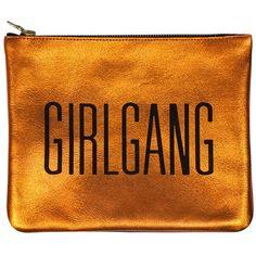 Sarah Baily - Mini Clutch Orange Girlgang featuring polyvore women's fashion bags handbags clutches purses orange hand bag mini pochette man bag hand bags zip purse