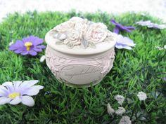 Congratulations Box - Ceramic Box - Floral Box - Flower Box - Vintage Box - Trinket Box - Jewellery Box - Vintage Wedding - Silver Wedding by MissieMooVintageRoom on Etsy