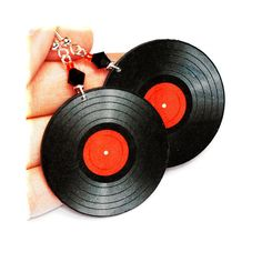 Vinyl record  Earrings Retro funky Round 2 - sided decoupage jewelry Black Red (C2) on Etsy, 19,95€