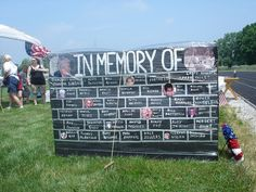 Memorial Wall at an American Cancer Society Relay for Life event. Could sell a brick for fundraising.