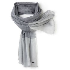 Lacoste Women's Modal Cotton Gingham Scarf ($59) ❤ liked on Polyvore featuring accessories, scarves, patterned scarves, fringe scarves, print scarves, striped scarves and fringe shawl