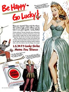 """""""Be Happy, Go Lucky!"""" – The Appeal of Vintage Lucky Strike Tobacco Ads From the Early Old Advertisements, Retro Advertising, Retro Ads, Pub Vintage, Photo Vintage, Vintage Images, Retro Images, Posters Vintage, Retro Poster"""