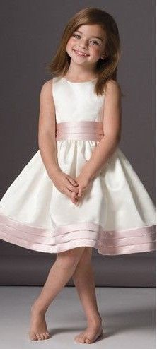 Simple Flower Girl Dress w/Ruched Pale Pink Sash & Skirt Edge