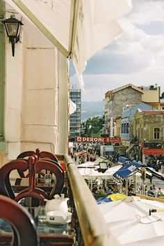 Cafe view, Plovdiv, Bulgaria. Plovdiv's history spans 6,000 years, with traces of a Neolithic settlement dating to roughly 4000 BC, ranking it among the world's oldest cities. (V)