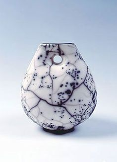 Ceramics by Helen Rondell at Studiopottery.co.uk - H8-RS Resist Slip Raku Vessel Form – Height 18cm Produced 2004