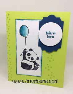 Voici une petite carte rapide toute simple mais j'étais trop pressée de tester mon lot de tampons pandas.Il est pas mignon ??� Album Vintage, Vintage Scrapbook, Scrapbook Supplies, Scrapbooking, Panda Party, Mama Elephant, Diy Christmas Cards, Animal Cards, Tampons