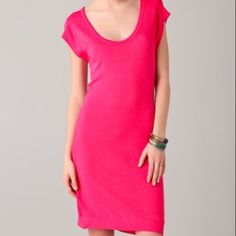 Anthropologie Sundry Cherry Muscle Tee Dress 1 XS French Terry hot pink soft dress size 1 or XS Anthropologie Dresses