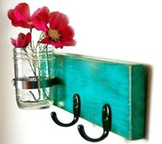turquoise key hook wall key hanger mason jar vase by OldNewAgain. I thought I could make my own and add all mason jars. Craft Projects, Projects To Try, Mason Jar Vases, Glass Jars, Little Presents, Style Deco, Ideias Diy, Key Hooks, Home And Deco