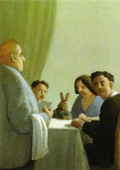 "Hase zu Tisch  by Michael Sowa  Thumper could not believe his ears, ""Lapin on the menu again."""