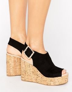 18194f7980e London Rebel Cork Wedge Sandal - Black Black Wedge Sandals