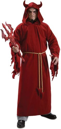Rule the realm of demons with this classic Devil Lord costume this Halloween. Includes red hooded robe with attached horns and rope belt. Buy online from Canada Devil Halloween, Halloween Fancy Dress, Halloween Christmas, Halloween 2015, Funny Halloween, Halloween Stuff, Halloween Costume Accessories, Halloween Costumes For Teens, Costume Halloween