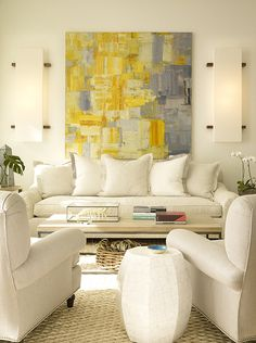 Wick Design - Interior Designer - San Francisco - Contemporary - Transitional - Living Room - White - Fresh - Wicker - Woven - Art - Display - Gallery - Frame - Print - White Furniture - Woven Rug - Wicker Basket - Wood Coffee Table - Side Table