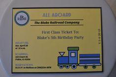 Train Party Printable Invitations Yellow by TrishsDesignStudio