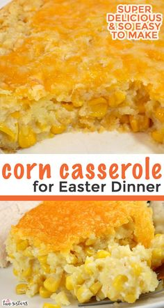 """Corn Casserole for Easter Dinner is a family favorite Easter food side dish - this sweet-savory, corn bread """"like"""" dish is super delicious and very ea Easter Dinner Recipes, Delicious Dinner Recipes, Holiday Recipes, Yummy Food, Holiday Foods, Sides For Easter Dinner, Easter Dinner Ideas, Food Recipes For Dinner, Dinner Healthy"""