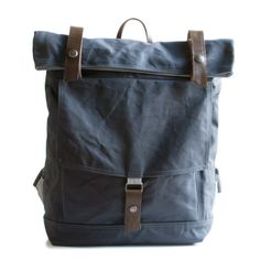 Handcrafted Backpack. Built from waxed or water resistant canvas and cordura. Good for laptops, commuting to work, school or as a diaper bag. Made in USA