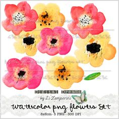 Digital PNG Clipart, Watercolor Flowers, Clipart Watercolor Flowers - 5x Handpainted - Floral -Instant Download Small Commercial Use