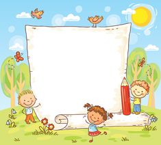 Cartoon frame with three kids outdoors Poster Background Design, Powerpoint Background Design, Kids Background, Cartoon Background, Phone Wallpaper Images, Disney Phone Wallpaper, Page Borders Design, Kids Graphics, School Frame