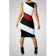LovelyWholesale.com: Tank Sheath Knee Length White ....... add panel behind sheer