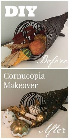 Upgrade your gifted or thrifted items to make cute and modern decor for the home. Fall cornucopia makeover from the Craft Crib