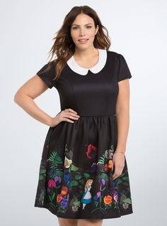 "<p>Falling down the rabbit hole never looked so enticing. While this prim black scuba dress certainly suits Alice pre-Wonderland (check out the proper Peter Pan collar), the vibrant floral and Alice graphics on the skirt have us going mad.</p>  <p> </p>  <p><b>Model is 5'9.5"", size 1 </b></p>  <ul> 	<li>Size 1 measures 40 1/2"" from shoulder</li> 	<li>Polyester/spandex</li> 	<li>Wash cold, line dry</li> 	<li>Imported plus size dress</li> </ul>"