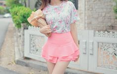 pink skirt and flowery top