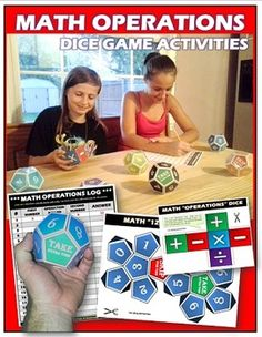"""If you want to engage your students and reinforce the basic math operations, this product will get the job done!!!! Students WILL BE EXCITED and WANT to play this game. The goal of the game is to fill-up the activity work sheet by taking turns rolling a different number dice and an """"operations"""" dice at the same time. They will perform the operation and log down their results on the activity logs. There are 3 different levels which require a total of 7 dice."""