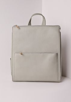 Missguided - Faux Leather Rucksack Grey Chic Backpack 8f9c9ff26168c