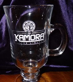 Kamora Irish Coffee Liqueur coffee mug cup 8 oz. Brand: Kamora Coffee Liqueur. Theme: Coffee Liqueur. Item: Coffee Mug / Cup. Size: Approximate 3 inches W. x 5 3/4 inches H. Not counting the handle.
