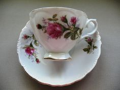 Japanese Tea Cups And Saucers | Vintage Porcelain Cup and Saucer Tea Set with Roses made in Japan