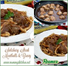 Mommy's Kitchen - Recipes from my Texas Kitchen! Salisbury Steak Meatballs & Gravy ........Classic beefy meatballs smothered in a homemade brown gravy and served with #reames Homestyle Egg Noodles. Simple comfort food that will warm you from the inside out. #Reames @marzettikitchen #HomemadeGoodness #comfortfood #meatballs #dinner #mommyskitchen #ad