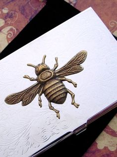 Silver Business Card Case Antiqued Brass Bee Card Holder Mixed Metals Very Slim Vintage Inspired Gothic Victorian Steampunk Style. $48.00, via Etsy.