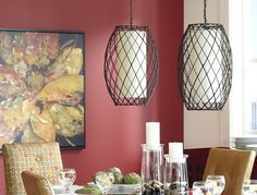 Pier 1 Modern Rattan Pendant Lamps- would LOVE to hang three of them in a grouping in the middle of the peak in the ceiling!