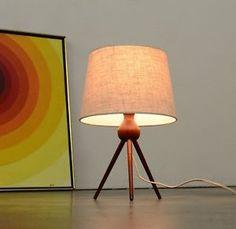 1950s Danish Modern Turned TEAK Atomic Table Lamp Mid Century Vintage Eames era