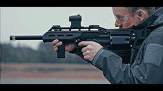 Bullpup revolving shotgun firing in slow motion