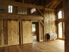 Green construction, reclaimed wood, barn style home.