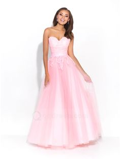 Buy Sweet Princess Strapless Sweetheart Lace Appliques Tulle Prom Dress - QQdress.com