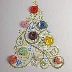 Postales de Navidad con Botones Reciclados