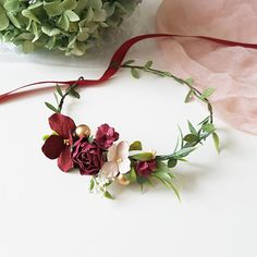 Beautiful baby burgundy flower crown. Baby flower crown made of paper flowers, very light and neat. Suitable for any exciting event: birthday, photo shoot or just for a fun image! Due to the flexible design of wreath individually adapts to the shape of the head. Length of child flower Baby Flower Crown, Flower Tiara, Floral Crown, Felt Flowers, Paper Flowers, Floral Wedding, Fall Wedding, Baby Tiara, Corona Floral