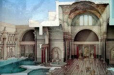 Termas de Caracalla | Reconstruction drawing of the Baths of Caracalla, Caelian Hill, Rome