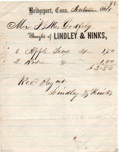 Original 1864 Reciept Lindley & Hinks Bridgeport Conn. Vintage CT. genealogy