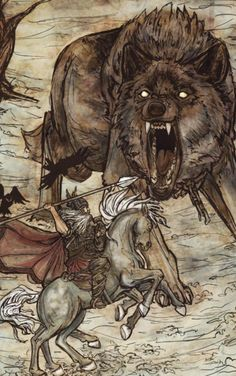 Odin and Fenrir by Arthur Rackham.