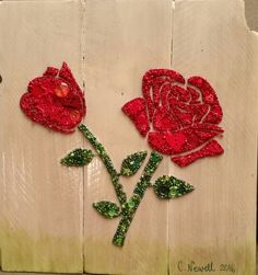 Button Art Roses on Recycled Wood with Acrylic Paint Background #buttons #button #art #roses