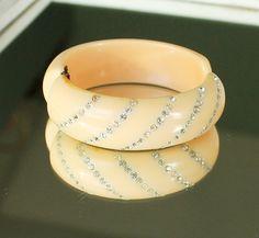Vintage Buttercup Yellow Thermoset Bakelite Clamper Bracelet w Rhinesstones | eBay